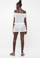 KANGOL - Off the shoulder crochet cover up dress - white