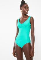 JEEP - Plain underwire one piece swimsuit - blue