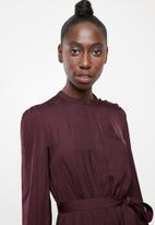 Vero Moda - Sandra long sleeve dress - burgundy