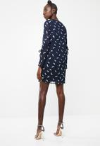 Vero Moda - Feather long sleeve short dress - navy