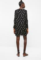 Vero Moda - Feather long sleeve short dress - black
