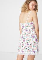 Cotton On - Lace slinky nightie - white & purple