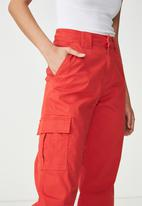 Cotton On - Carla high waist utility pants - red