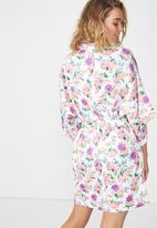 Cotton On - Kimono gown purple beautiful bloom - white