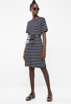 Superbalist - Striped T-shirt dress with rolled sleeve - navy & white