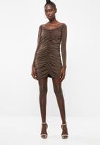 Superbalist - Ruched mini dress - brown