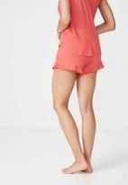Cotton On - Rib frill shorts - red