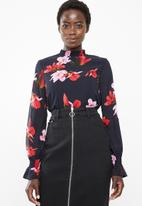 Vero Moda - Katy long sleeve high neck top - navy