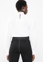 Vero Moda - Dawn long sleeve midi shirt - white