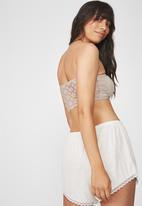 Cotton On - Jojo knot front lace bandeau - beige