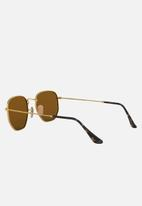 Ray-Ban - Hexagonal sunglasses 51mm - gold/polar brown