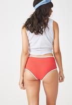 Cotton On - Cotton flat elastic high waist brief - red