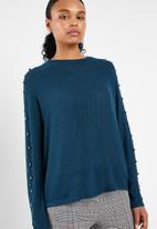 Vero Moda - Royanna pearl long sleeve o-neck knit - blue
