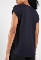 Vero Moda - Dean mix short sleeve wide top - navy