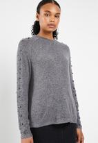 Vero Moda -  Pearl long sleeve o-neck knit - grey