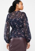 Vero Moda - Maya 3/4 wrap blouse - navy