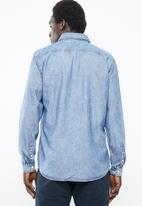 Jack & Jones - Mason long sleeve zip through shirt - blue