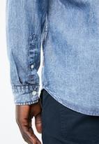 Jack & Jones - Mason long sleeve zip through shirt - blue