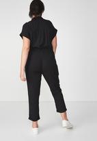 Cotton On - Woven short sleeve jumpsuit - black