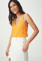 Cotton On - Astred Cami - yellow & white