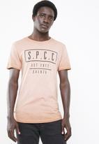 S.P.C.C. - Block placement printed tee - tan