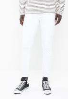 Sergeant Pepper - Cut & sew white feather skinny intricate front roping - white