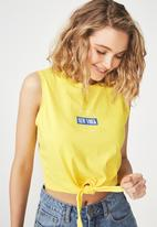 Cotton On - Tbar Maeve tie front tee - yellow