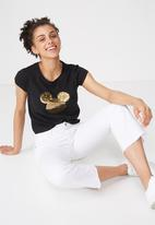 Cotton On - Tbar Rachael graphic Mickey sequins tee - black