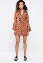 Missguided - Wrap front polka dress - bronze