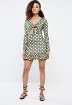 Missguided - Tie front polka dot ruffle hem dress - khaki green