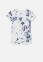 Cotton On - Mini short sleeve zip through romper - navy & white