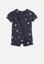 Cotton On - Mini short sleeve zip through romper - navy