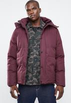 Bellfield - Hooded puffa jacket - maroon