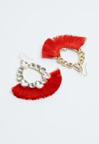 Joy Collectables - Diamante fringe earrings - red & gold