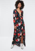 Missguided - Floral long sleeve twist wrap maxi dress- multi