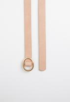 Joy Collectables - Skinny belt with round buckle - pale pink