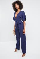 Missguided - Kimono belted plunge jumpsuit - navy