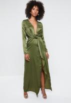 Missguided - Wrap front maxi dress - khaki