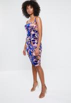 Missguided - Velvet devore drape front midi dress - multi