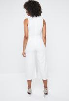 Missguided - Plunge front drape culotte jumpsuit - white