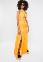 Missguided - Cut out tie front maxi dress - yellow