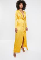 Missguided - Wrap front maxi dress - yellow