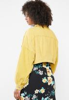 Missguided - Cropped drop shoulder cord jacket - yellow