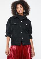 Missguided - Oversized teddy faux fur denim jacket - black