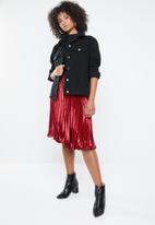 Missguided - Oversized teddy faux fur denim jacket - black