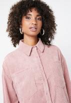 Missguided - Oversized corduroy shirt dress - pink