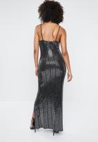 Missguided - Sequin cowl neck side split maxi dress - black