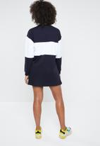 Missguided - Oversized sweater dress colour block California - navy & white