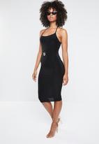 Missguided - Lion buckle tie neck midi dress - black
