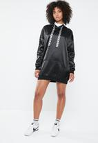 Missguided - Mono sports tape oversized hooded dress - black